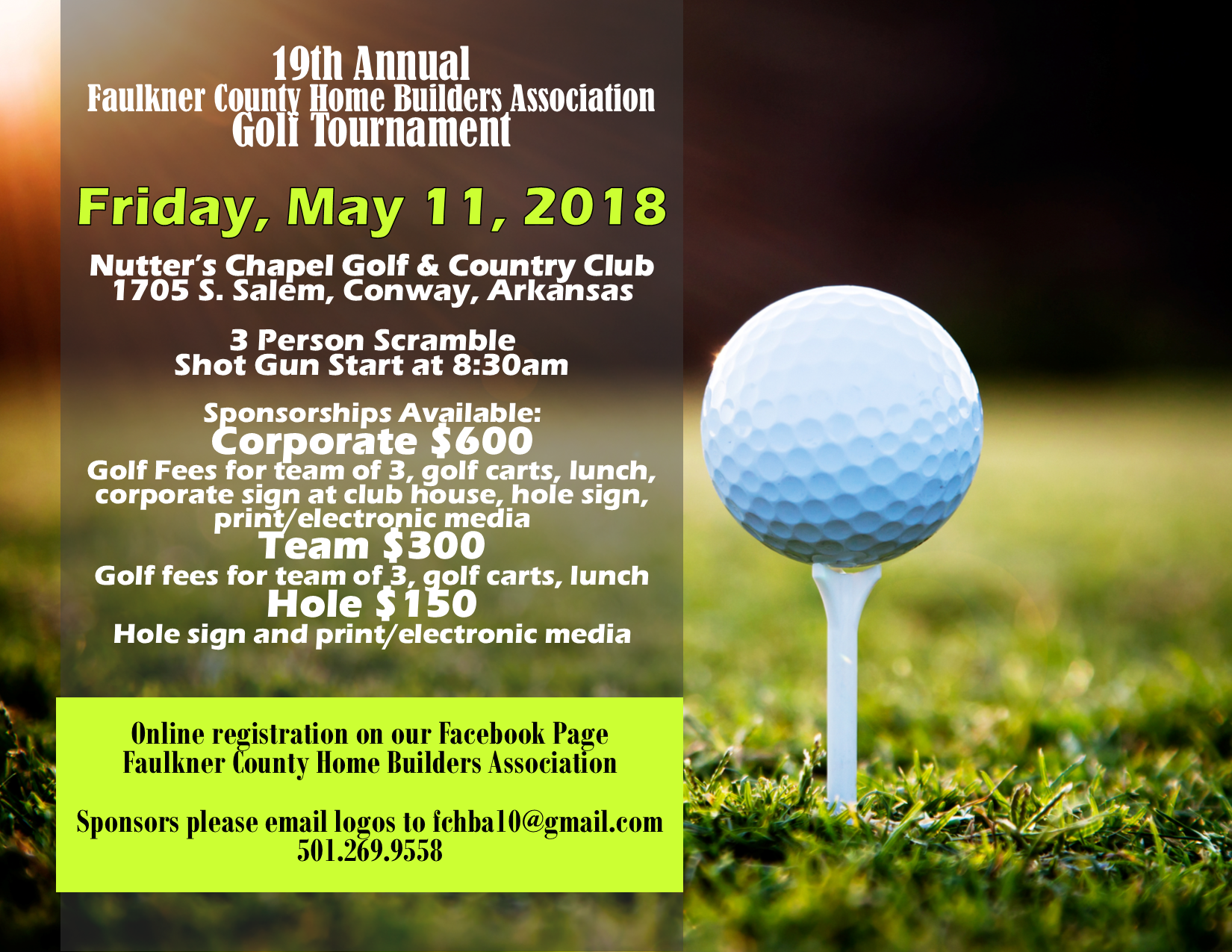 2018 Golf Tournament Flyer